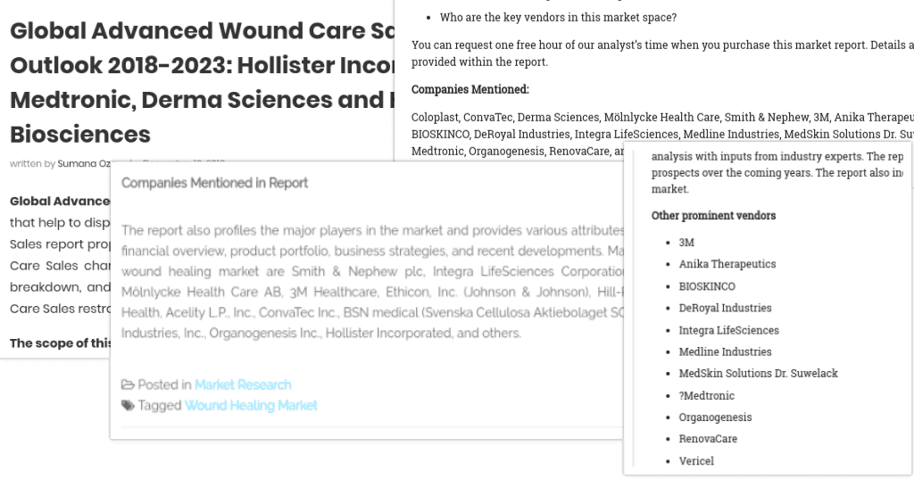 Collage of Incorrect Wound Market Report Screenshots